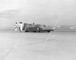 BLUEBIRD Malcolm Campbell starting a run at Daytona Beach 1935